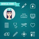 Vektoruppsättning av linjära medicinska symboler Ambulans sjukhus, doktor, sjukdom, hjärta royaltyfri illustrationer