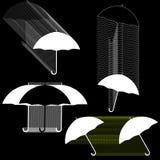 Vektoruppsättning av linjen svartvita paraplyer för teckning Arkivfoto