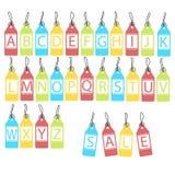 Vektoruppsättning av ljusa olika bokstäver abstrakt alfabet royaltyfri illustrationer