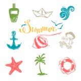 Vektoruppsättning av ljusa sommar- och loppsymboler Fotografering för Bildbyråer