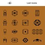 Vektoruppsättning av ljusdiod Symboler för ljus-sändande ut ekonomiska LEDDE lampor Ledde former Den stora samlingen ledde dioder stock illustrationer