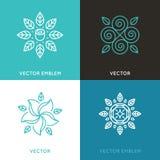 Vektoruppsättning av logodesignmallar i moderiktig linjär stil stock illustrationer