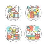 Vektoruppsättning av logoer litteratur, musik, konst, arkitektur Modern tunn linje symboler royaltyfri illustrationer