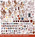 Vektoruppsättning av lyxiga kungliga tappningbeståndsdelar för din heraldiska de Royaltyfria Bilder