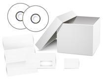 Vektoruppsättning av mallar för företags identitet (CD deckare, ask, kuvert, affärskort). Royaltyfri Fotografi