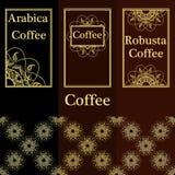 Vektoruppsättning av mallar som förpackar kaffe, etikett, identitet som brännmärker Abstrakt tappningbakgrund med dekorativt stock illustrationer
