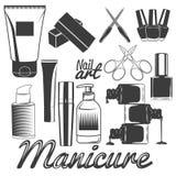 Vektoruppsättning av manikyrhjälpmedel Spikar manikyr Skönhetsalong och skönhetsmedeltillbehör Designbeståndsdelar, symboler royaltyfri illustrationer