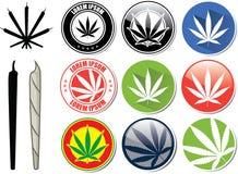 Vektoruppsättning av marijuana- och cannabisknappar royaltyfri illustrationer