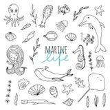 Vektoruppsättning av marin- liv stock illustrationer
