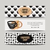 Vektoruppsättning av moderna baner med kaffebakgrunder Royaltyfri Fotografi