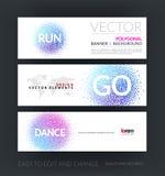 Vektoruppsättning av moderna horisontalwebsitebaner med dans och r Arkivbilder