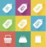 Vektoruppsättning av moderna plana försäljningssymboler. Shoppa. Arkivfoton