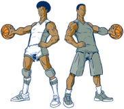 Vektoruppsättning av moderna två och Retro basketspelare arkivbild