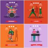 Vektoruppsättning av musiker och sångare Baner för musikrockbandbegrepp Arkivfoton