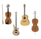 Vektoruppsättning av musikinstrument fiol, gitarr, elbas, violoncell stock illustrationer