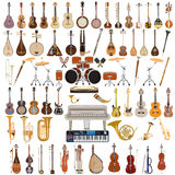 Vektoruppsättning av musikinstrument i plan stil royaltyfri foto