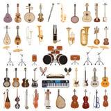 Vektoruppsättning av musikinstrument på vit bakgrund royaltyfri foto