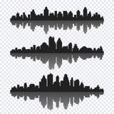 Vektoruppsättning av olik svart horisontalcityscape med reflecti Royaltyfria Foton
