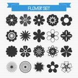Vektoruppsättning av olika abstrakta blommor Arkivfoto