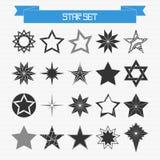 Vektoruppsättning av olika abstrakta stjärnor Arkivbilder