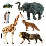 Vektoruppsättning av olika djur, polygonal symboler, låg poly illustration, räv, lejon, elefant, giraff, sköldpadda, pingvin Arkivfoto