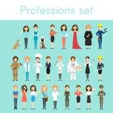 Vektoruppsättning av olika färgrika kvinnayrken Royaltyfri Bild