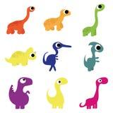 Vektoruppsättning av olika gulliga tecknad filmdinosaurier Arkivfoto