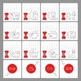 Vektoruppsättning av olika hundavel Design av kalendern för 2018 år av hunden Roliga karikatyrdjurtecken Royaltyfri Foto