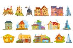 Vektoruppsättning av olika husillustrationer vektor illustrationer