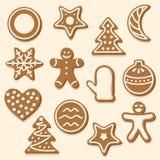 Vektoruppsättning av olika julkakor vektor illustrationer