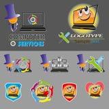 Vektoruppsättning av olika logoer, smileys för reparationen, PCunderhåll, bärbar dator royaltyfri illustrationer