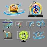 Vektoruppsättning av olika logoer, smileys för reparationen, PCunderhåll, bärbar dator vektor illustrationer