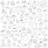 Vektoruppsättning av olika sötsaker stock illustrationer