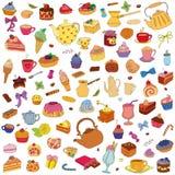 Vektoruppsättning av olika sötsaker royaltyfri illustrationer