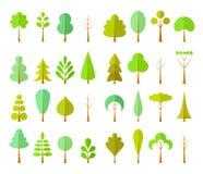 Vektoruppsättning av olika skogbeståndsdelar Träd i en plan stil vektor illustrationer