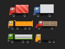 Vektoruppsättning av olika stads- och stadsbilar vektor illustrationer