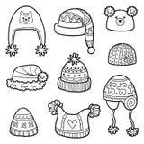 Vektoruppsättning av olika vinterhattar med djur och den geometriska modellen vektor illustrationer