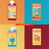 Vektoruppsättning av online-shopping, online-matleverans Royaltyfri Illustrationer