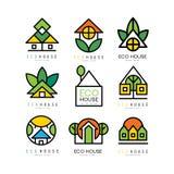 Vektoruppsättning av original- logoer med vänliga hus för eco ekologisk konstruktion Linjär emblem för eller arkitektoniskt royaltyfri illustrationer