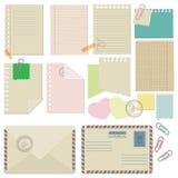 Vektoruppsättning av papper, kuvert, gemkantsilyarskie Arkivfoto