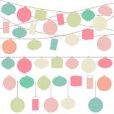 Vektoruppsättning av pastell färgade pappers- lyktor för ferie Arkivbilder