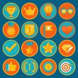 Vektoruppsättning av 16 plana gamificationsymboler Royaltyfri Bild