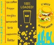 Vektoruppsättning av plana ljusa kulöra smakliga baner med kaffe och smörgåsen Royaltyfri Bild