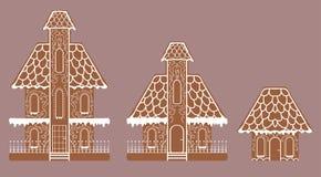 Vektoruppsättning av plana ljusbruna pepparkakahus vektor illustrationer