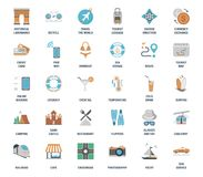 Vektoruppsättning av plana rengöringsduksymboler för fritid och för turism Fullständigt redigerbart och enkelt att använda stock illustrationer