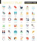Vektoruppsättning av plana symboler för sommartid Arkivfoto