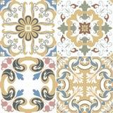 Vektoruppsättning av portugistegelplattamodeller Samling av kulört p royaltyfri illustrationer