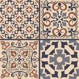Vektoruppsättning av prydnader för keramisk tegelplatta Dekorativa modeller för portugisiska azulejos Royaltyfria Bilder