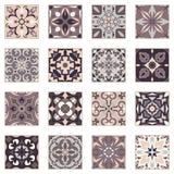 Vektoruppsättning av prydnader för keramisk tegelplatta Dekorativa modeller för portugisiska azulejos Fotografering för Bildbyråer