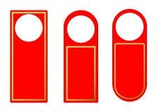Vektoruppsättning av röda för dörrhandtag för tomt papper plast- hängare för lås stock illustrationer